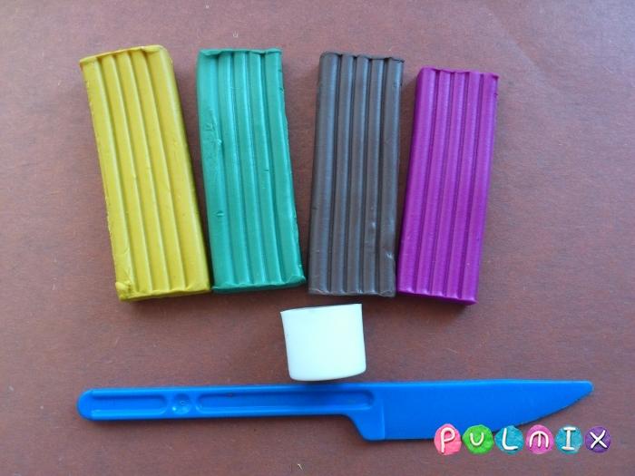 Как слепить фиалки из пластилина поэтапно - шаг 1