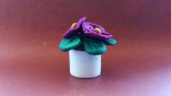Фотография цветы фиалки из пластилина