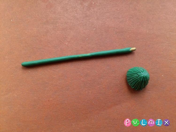 Как слепить одуванчик из пластилина поэтапно - шаг 3