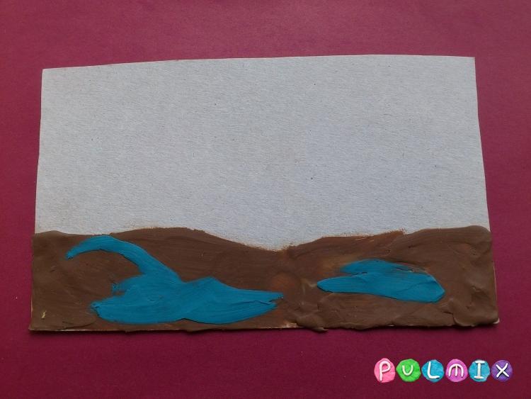 Как слепить весеннее дерево из пластилина на картоне - шаг 2