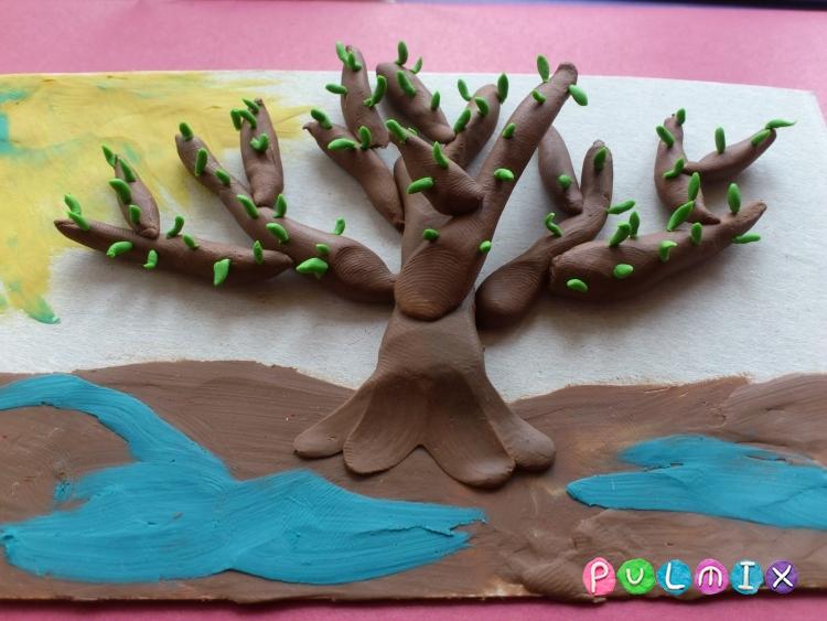 Как слепить весеннее дерево из пластилина на картоне - шаг 6