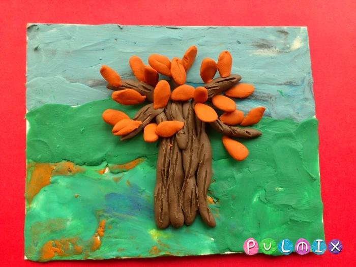 Осеннее дерево на картоне из пластилина поэтапно - шаг 7