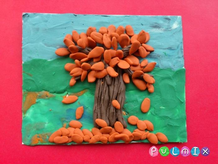 Осеннее дерево на картоне из пластилина поэтапно - шаг 8