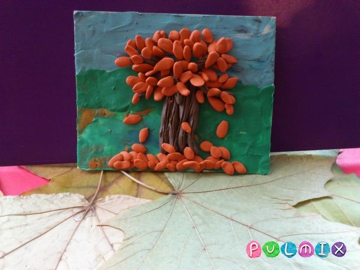 Осеннее дерево на картоне из пластилина поэтапно - шаг 9