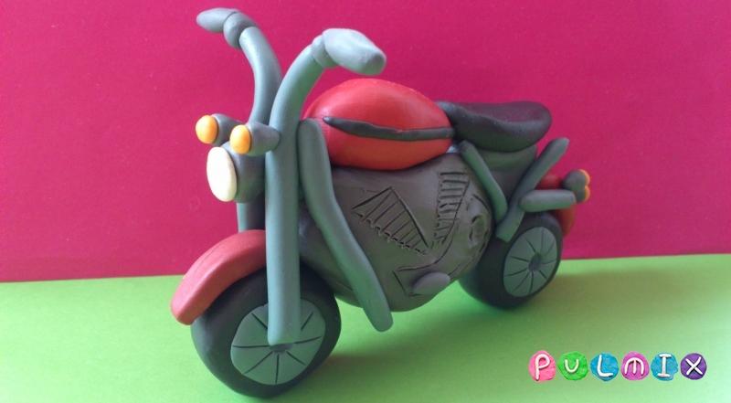 Как слепить мотоцикл из пластилина