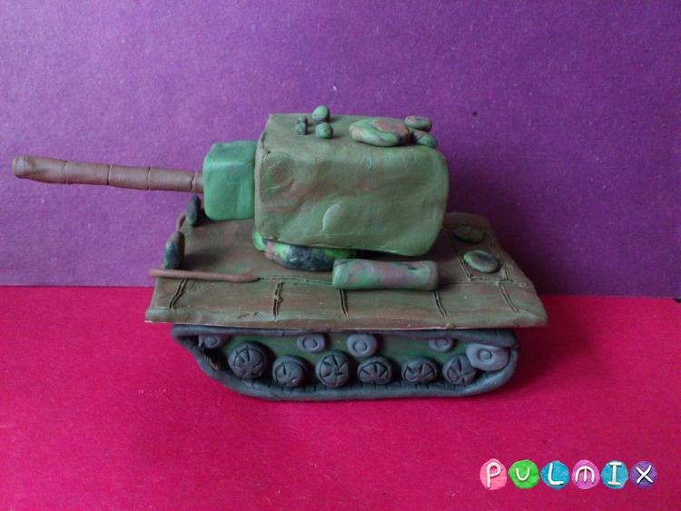 Как слепить танк КВ-2 из пластилина поэтапно - шаг 8