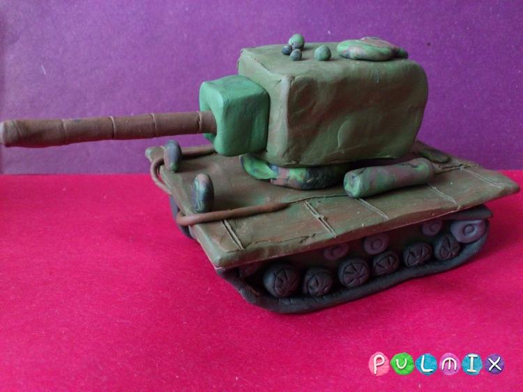 Как слепить танк КВ-2 из пластилина поэтапно - шаг 9