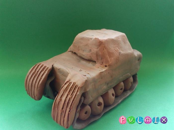 Как слепить танк Пантера из пластилина ребенку - шаг 14