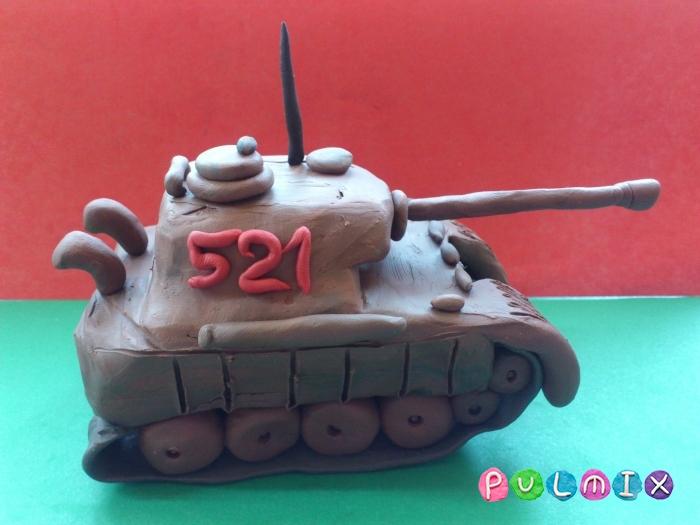 Как слепить танк Пантера из пластилина ребенку - шаг 17