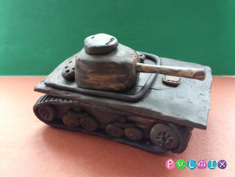 Как слепить танк Т-37А из пластилина урок с фото - шаг 14