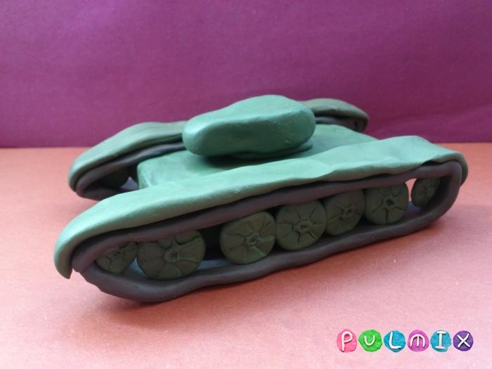 Как слепить танк Т-44 из пластилина пошаговый урок - шаг 13