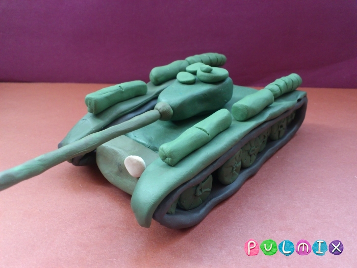 Как слепить танк Т-44 из пластилина пошаговый урок - шаг 18
