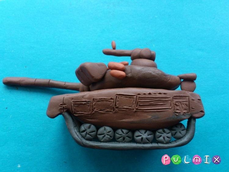 Как слепить танк Т-90 из пластилина урок с фото - шаг 11