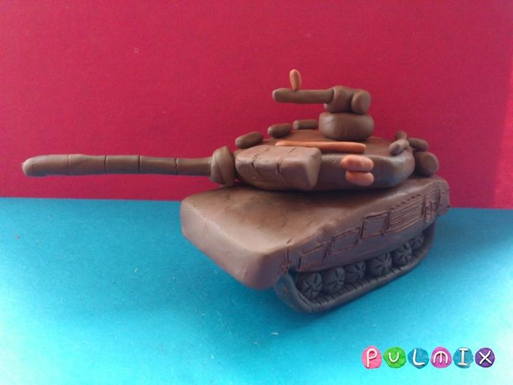 Как слепить танк Т-90 из пластилина урок с фото - шаг 12