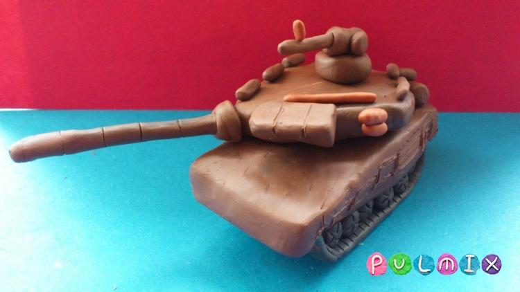 Как слепить танк Т-90 из пластилина урок с фото