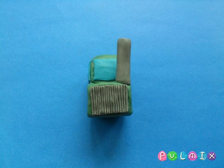 Как слепить трактор с прицепом из пластилина - шаг 7
