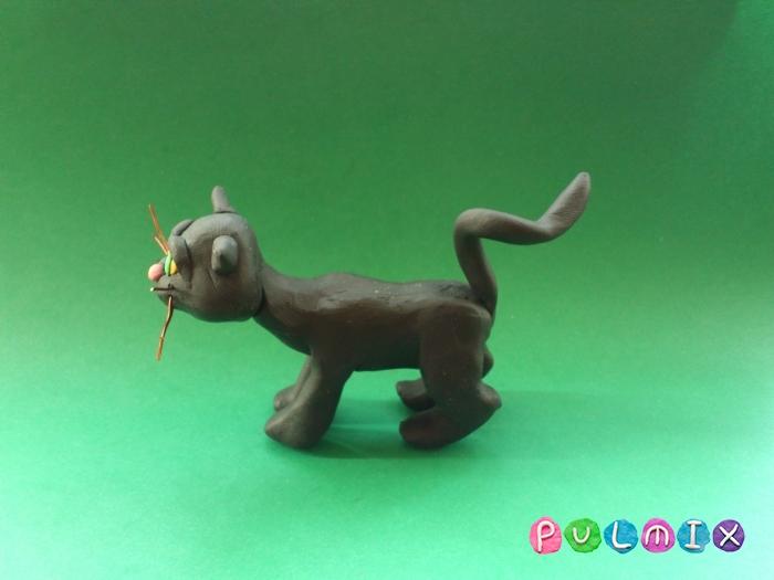 Как слепить черную кошку из пластилина поэтапно - шаг 11