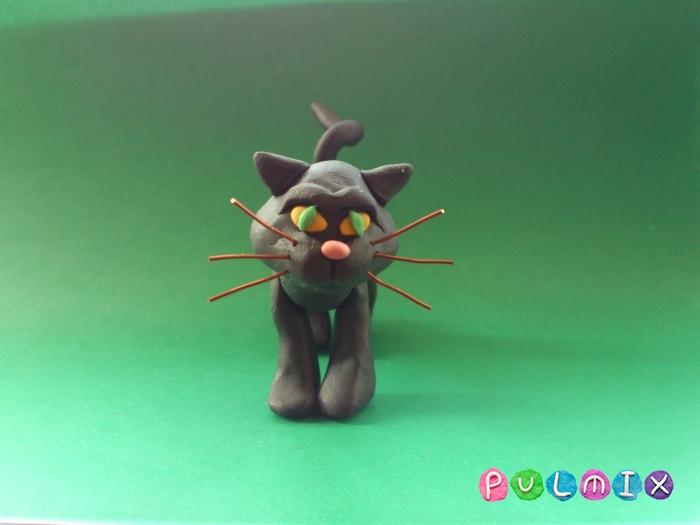 Как слепить черную кошку из пластилина поэтапно - шаг 12