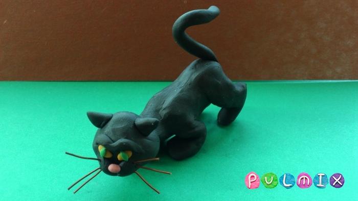 Как слепить черную кошку из пластилина поэтапно