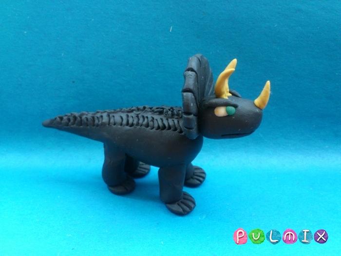 Как слепить динозавра Трицератопса из пластилина - шаг 13