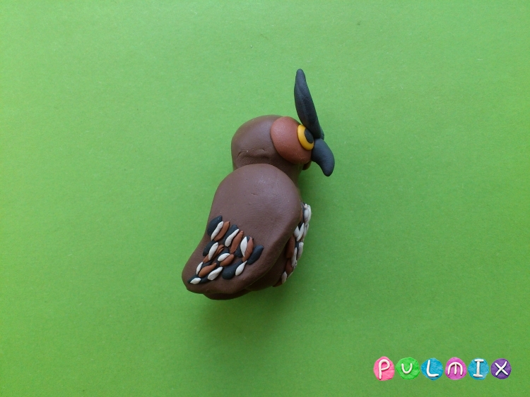 Как слепить сову из пластилина фото урок - шаг 10