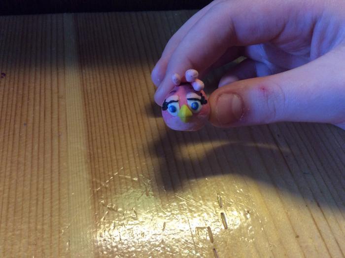 Как слепить из пластилина птицу Стеллу из игры Энгри Бердз