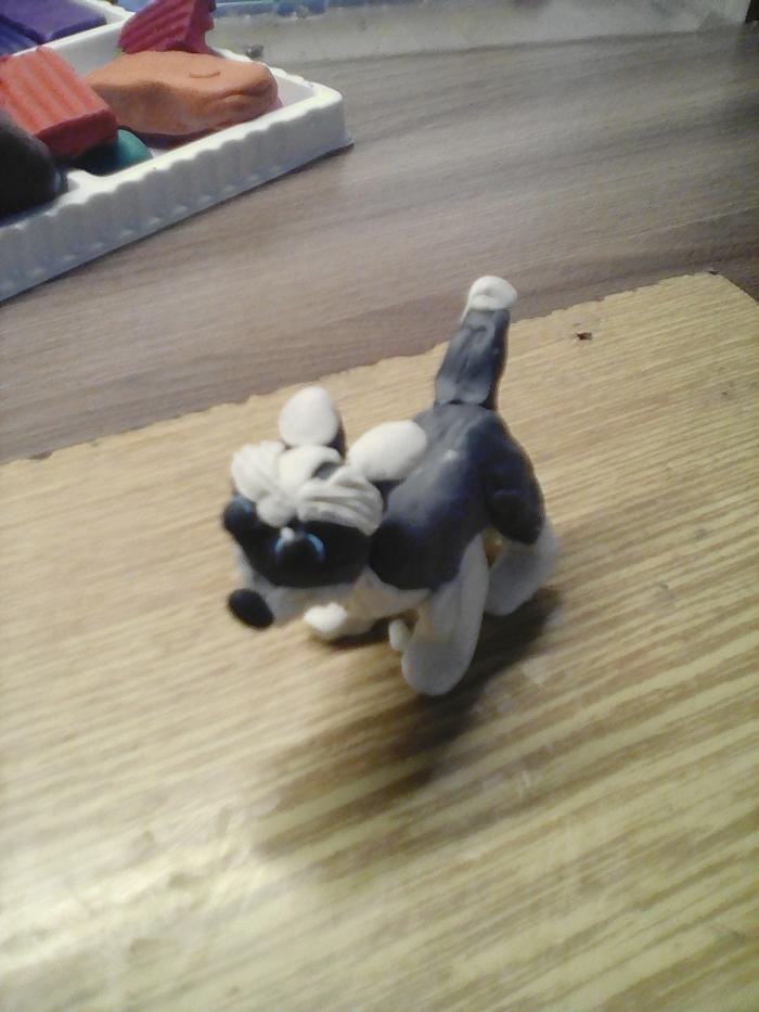 Как слепить собаку хаски из пластилина своими руками поэтапно