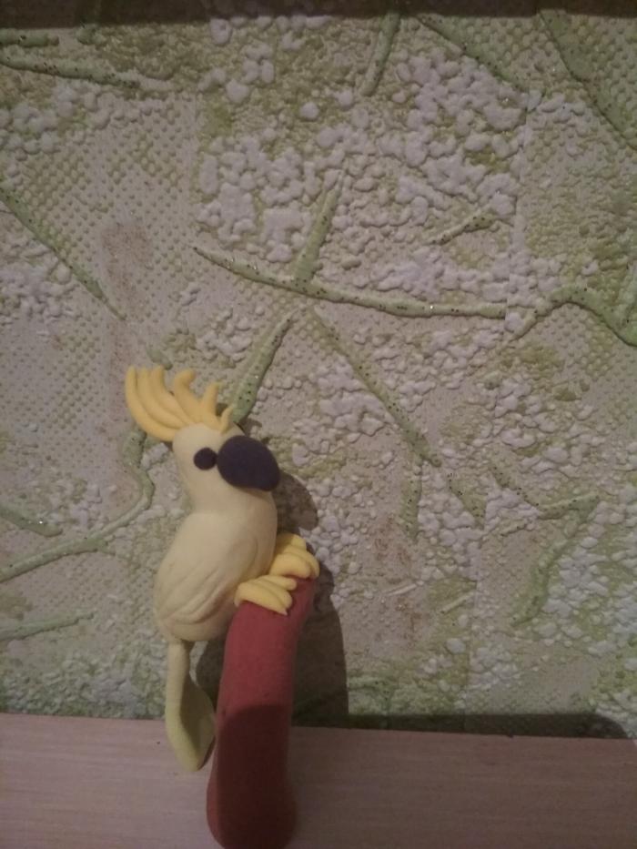 Как слепить попугая какаду из пластилина своими руками